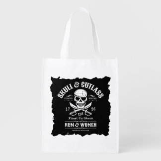 Pirate Skull with Crossed Cutlasses Reusable Grocery Bag