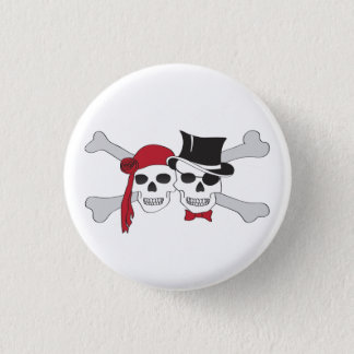 pirate skulls and crossbones button