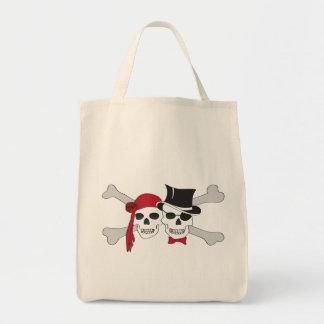 pirate skulls and crossbones tote bag