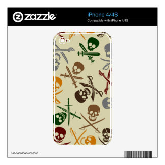 Pirate Skulls with Crossed Swords iPhone 4 Decal