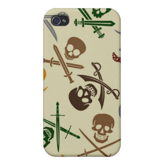 Pirate Skulls with Crossed Swords Case For iPhone 4