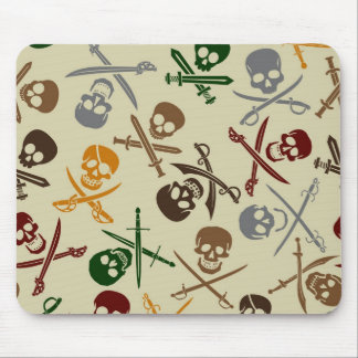 Pirate Skulls with Crossed Swords Mousepads