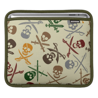 Pirate Skulls with Crossed Swords Sleeve For iPads