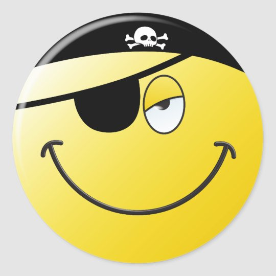 Pirate Smiley Face Classic Round Sticker