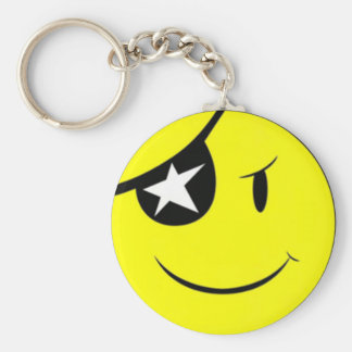 Pirate Smiley Face Keychain