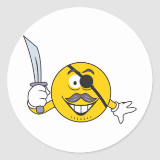 Pirate Smiley Face Round Stickers