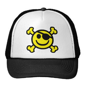 Pirate Smiley Trucker Hat