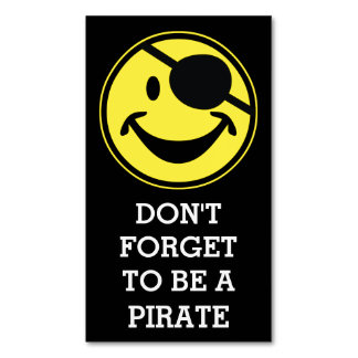Pirate Smiley yellow + your background & sayings Magnetic Business Card