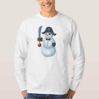 Pirate Snowman, Men's Basic Long Sleeve T-Shirt