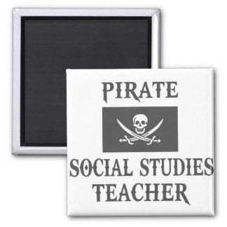 Pirate Social Studies Teacher 2 Inch Square Magnet