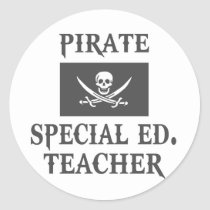 Pirate Special Ed. Teacher Round Sticker
