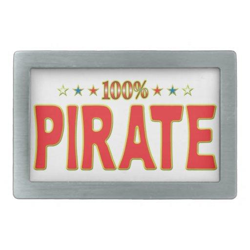 Pirate Star Tag Rectangular Belt Buckle