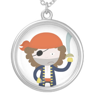 Pirate stereotype round pendant necklace