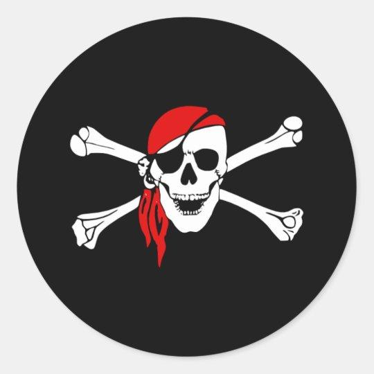 Pirate_sticker2 Classic Round Sticker
