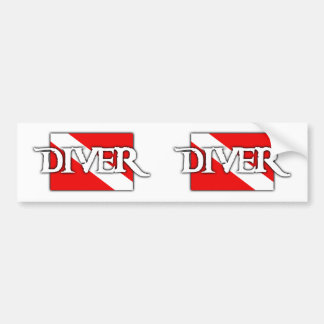 Pirate-style Dive Flag Bumper Sticker