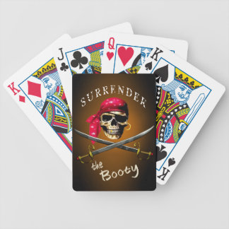 Pirate Surrender the Booty gold and black Poker Deck