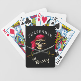 Pirate Surrender the Booty red and black Bicycle Playing Cards