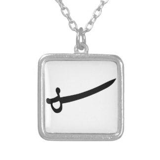 Pirate Sword Square Pendant Necklace