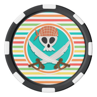 Pirate Swords; Bright Rainbow Stripes Poker Chip Set