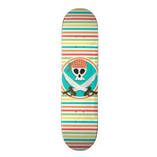 Pirate Swords; Bright Rainbow Stripes Skateboard