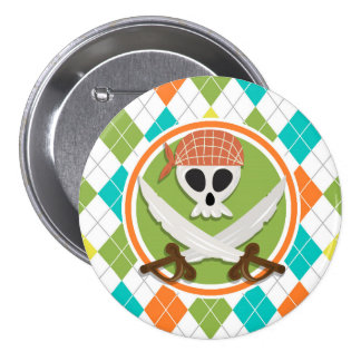 Pirate Swords on Colorful Argyle Pattern Pinback Button