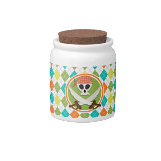Pirate Swords on Colorful Argyle Pattern Candy Jars