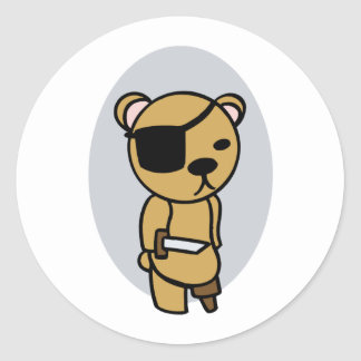 Pirate Teddy Bear Classic Round Sticker
