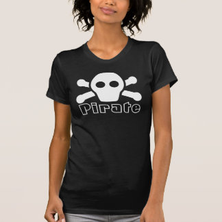 Pirate Tee for Women - Black Shirt with Cute Scull