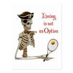 Pirate Tennis Losing Skeleton Postcard