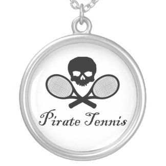 Pirate Tennis Skull & Racquet Necklace