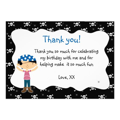 """Pirate Thank You Card Birthday Baby Shower 5"""" X 7"""" Invitation Card"""