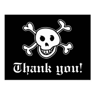 Pirate thank you card for birthdays party postcard