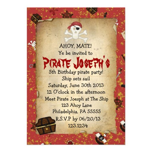 Pirate Party Invitation Wording for luxury invitation sample