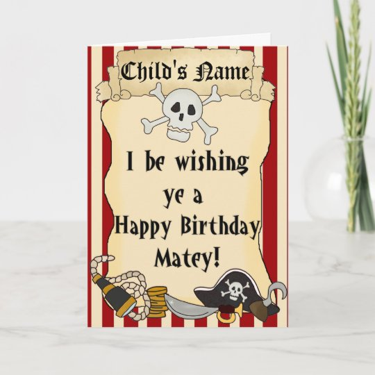 Pirate Themed Child Happy Birthday Card Zazzle