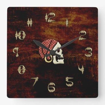 Halloween Themed Pirate Timekeeper Square Wall Clock