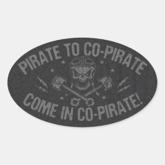 Pirate to Co-Pirate II Oval Sticker