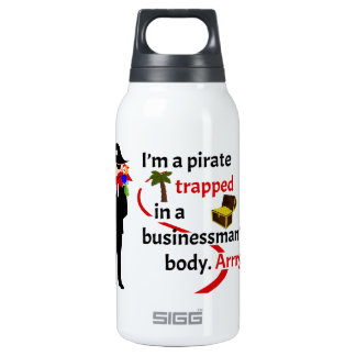 Pirate trapped in a businessman's body thermos bottle