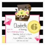 Pirate Treasure Chest Coins & Jewels Birthday Personalized Invitations