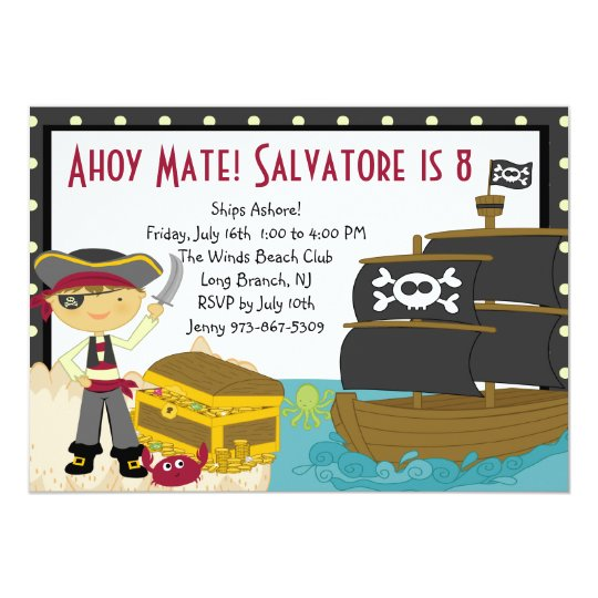 Pirate Treasure Chest Party Birthday Invitation