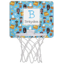 Pirate Treasure Hunt Kids Personalize Pattern Mini Basketball Hoop