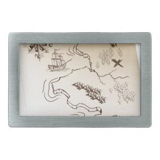 Pirate Treasure map Rectangular Belt Buckle