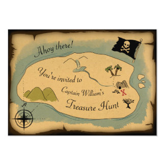 Pirate treasure map birthday party invitation