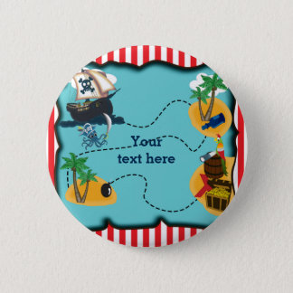 Pirate Treasure Map Birthday Party Pin BUTTON