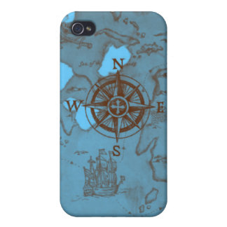 pirate treasure map compass sea choose background iPhone 4 case