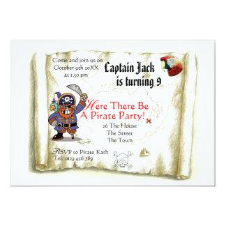 Pirate treasure map party invitation card