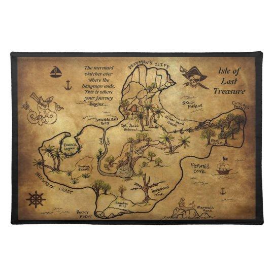 Pirate Treasure Map Rug: Pirate Treasure Map Placemat