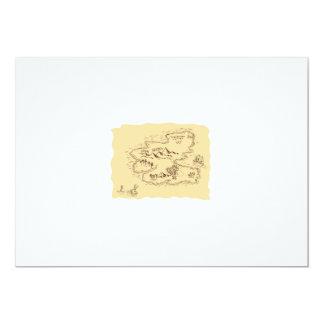 Pirate Treasure Map Sailing Ship Drawing Card