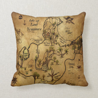 Pirate Treasure Map Throw Pillow
