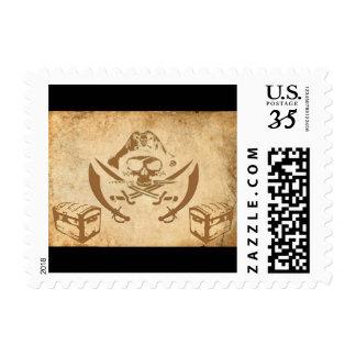 pirate treasure postage stamp