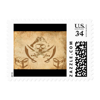 pirate treasure postage stamp